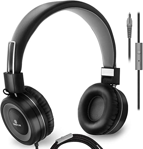 Sonitum On Ear Headphones with Microphone, Wired Head Phones with Volume Control for Computer Ipad Cellphone, Kids Headphones for School, Foldable Adjustable fit Tangle Free 1.5m Cord, 3.5mm Jack