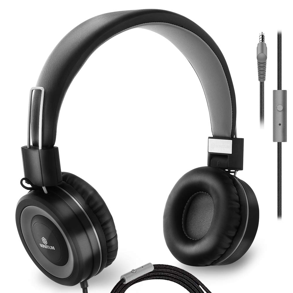 Headphones with Microphone Wired On Ear Stereo Bass Headphone for Computer, Tablet Ipad Cell Phones MP3 School, Comfortable Lightweight Folding Adjustable fit Tangle Free 1.5m Cord with 3.5mm Jack by Sonitum