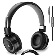 Sonitum On Ear Headphones with Microphone, Wired Head Phones with Volume Control for Computer Ipad Cellphone, Kids Headphones for School, Foldable/Adjustable fit Tangle Free 1.5m Cord, 3.5mm Jack