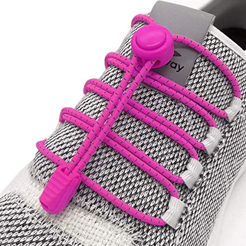 Elastic No Tie Shoelaces - No Tie Laces With Reflective String for Sneakers (Pink)