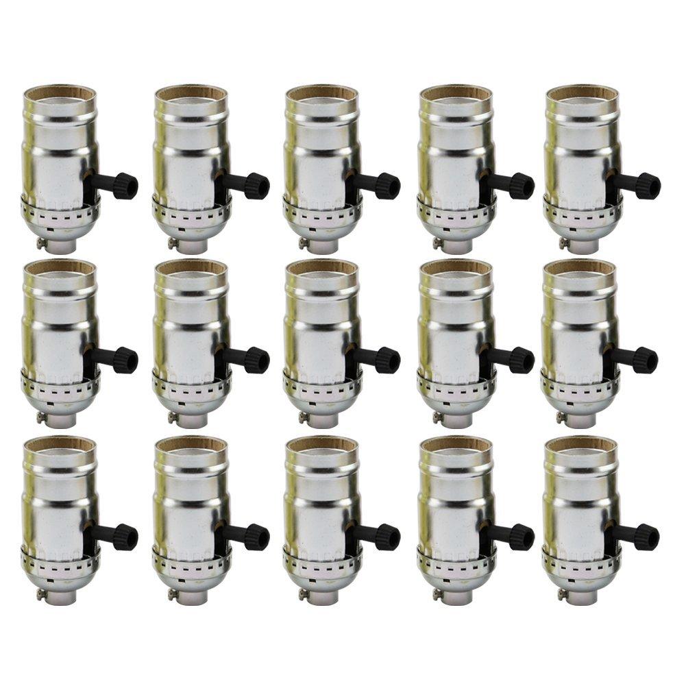 AAF On-Off Turn Knob Socket Polished Nickel Finish, E26 / E27 Medium Base with Screw Set, Pack of 15