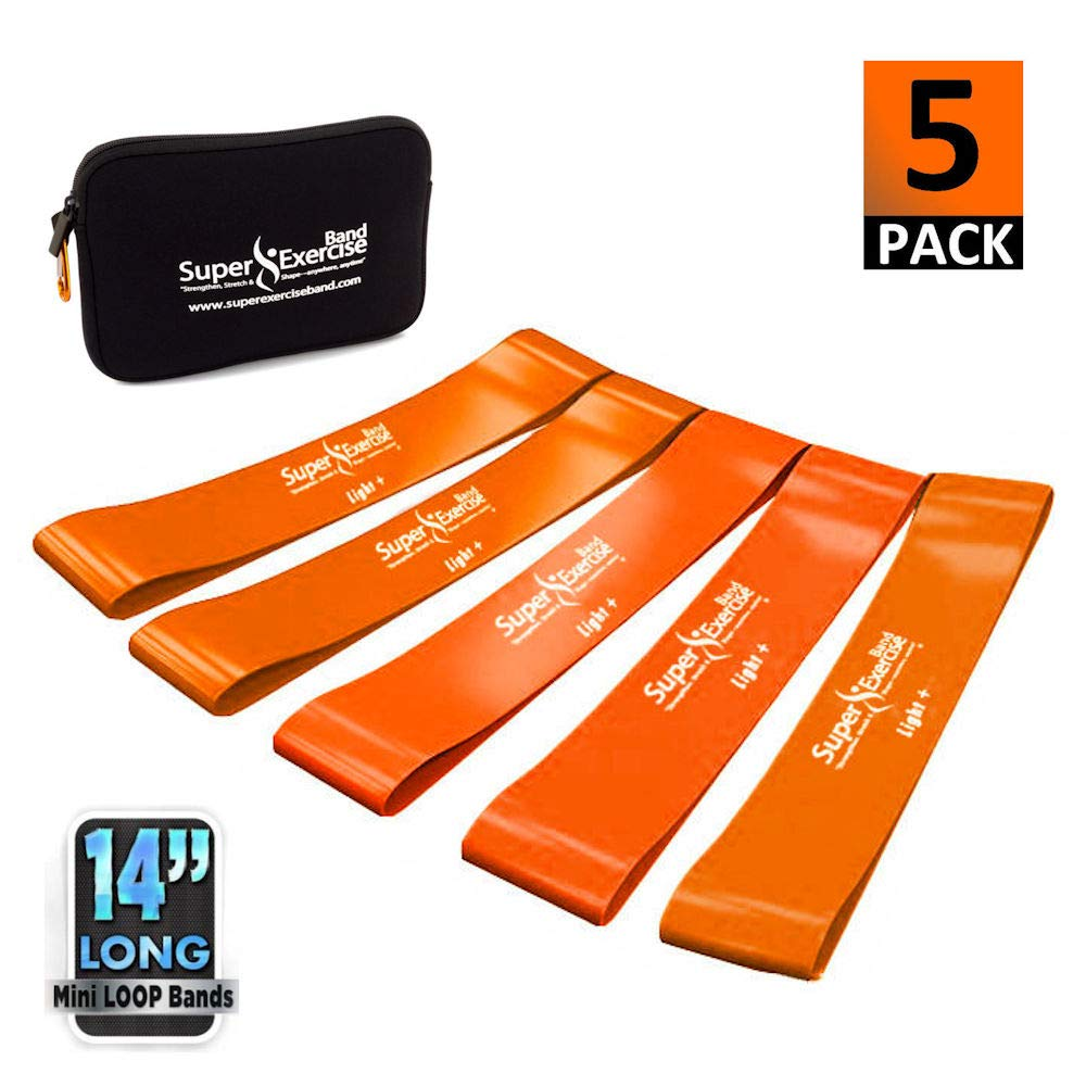 Super Exercise Band 5 Pack 14'' x 3'' Extra Long Orange Light + Strength Mini Loop Bands. Non-Latex Resistance for Fitness, Physical Therapy, Pilates, and Strength Training.