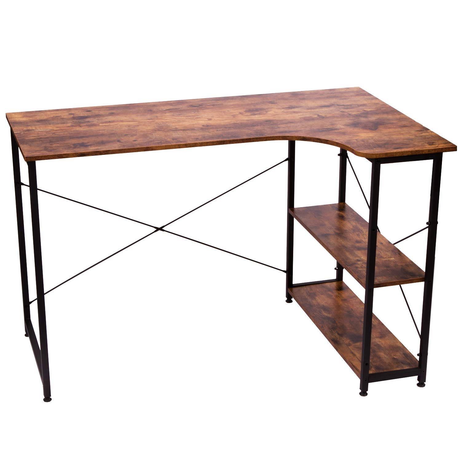 IRONCK L Shaped Desk Computer Table 47'', Small Corner Desk with Shelf for Home Office, Writing Workstation, Space-Saving, Easy to Assemble, Retro Brown