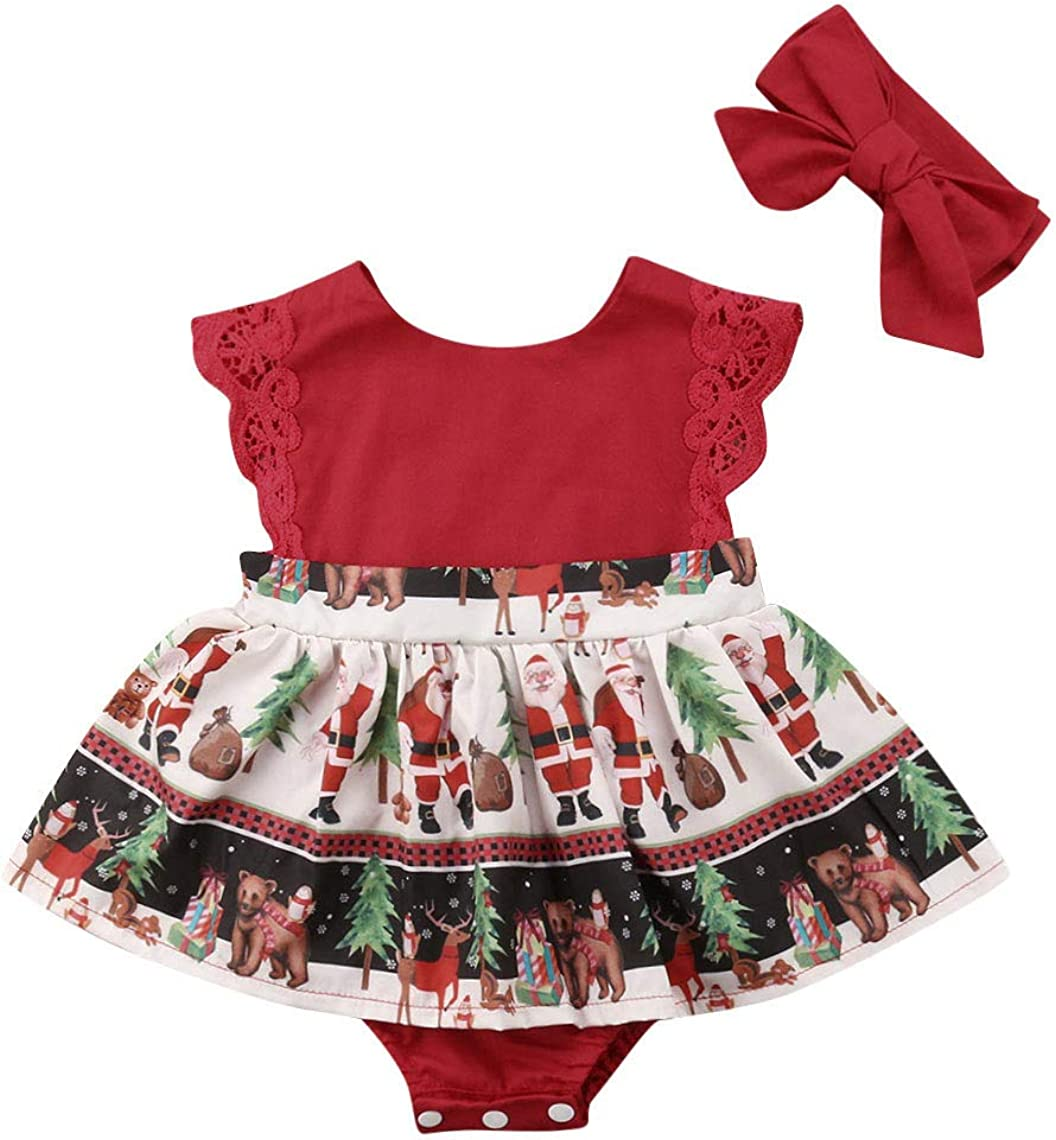 2pcs Newborn Baby Girl Clothes Sunflower Romper Jumpsuit+Tutu Skirt Outfit Set