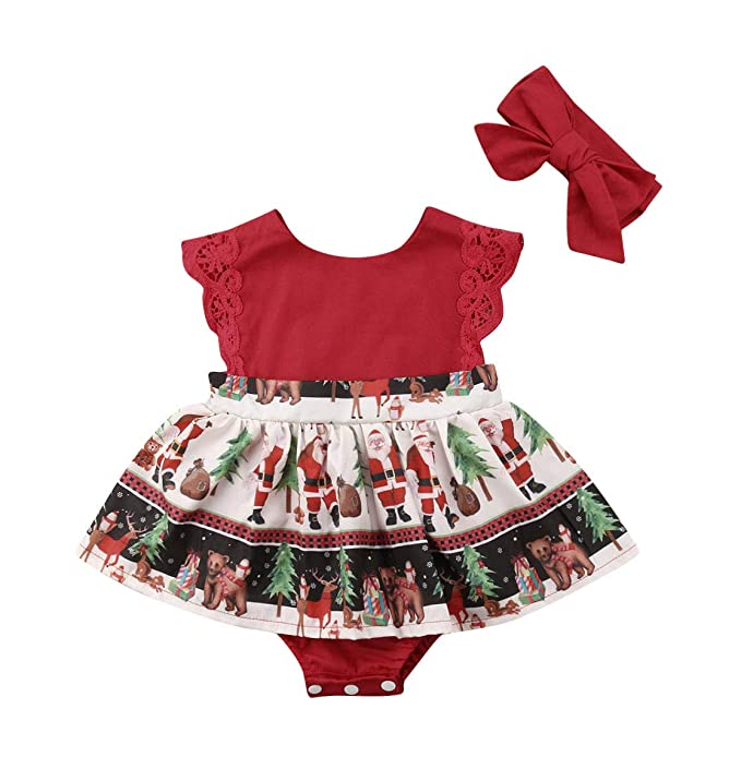 315fb3e6a11 VISGOGO 2 pcs Newborn Baby Girl Christmas Romper Jumpsuit Tutu Dress  Headband Outfits Clothes 0-