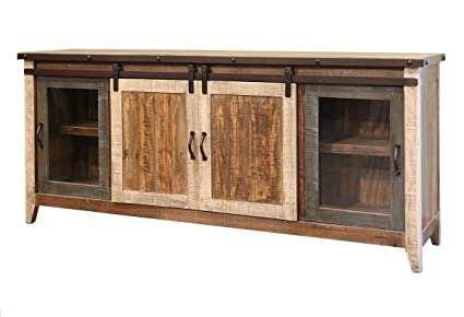 Madeline Sturdy Solid Wood Antique Multi Color 80 Inch Rustic Sliding Barn  Door TV Stand  Tv Stand Inches Wide E42