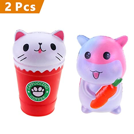 VLAMPO 2PCS Jumbo Squishies Kawaii Crema de Hámster de Zanahoria / Cat Coffee Cup Squishies Crema