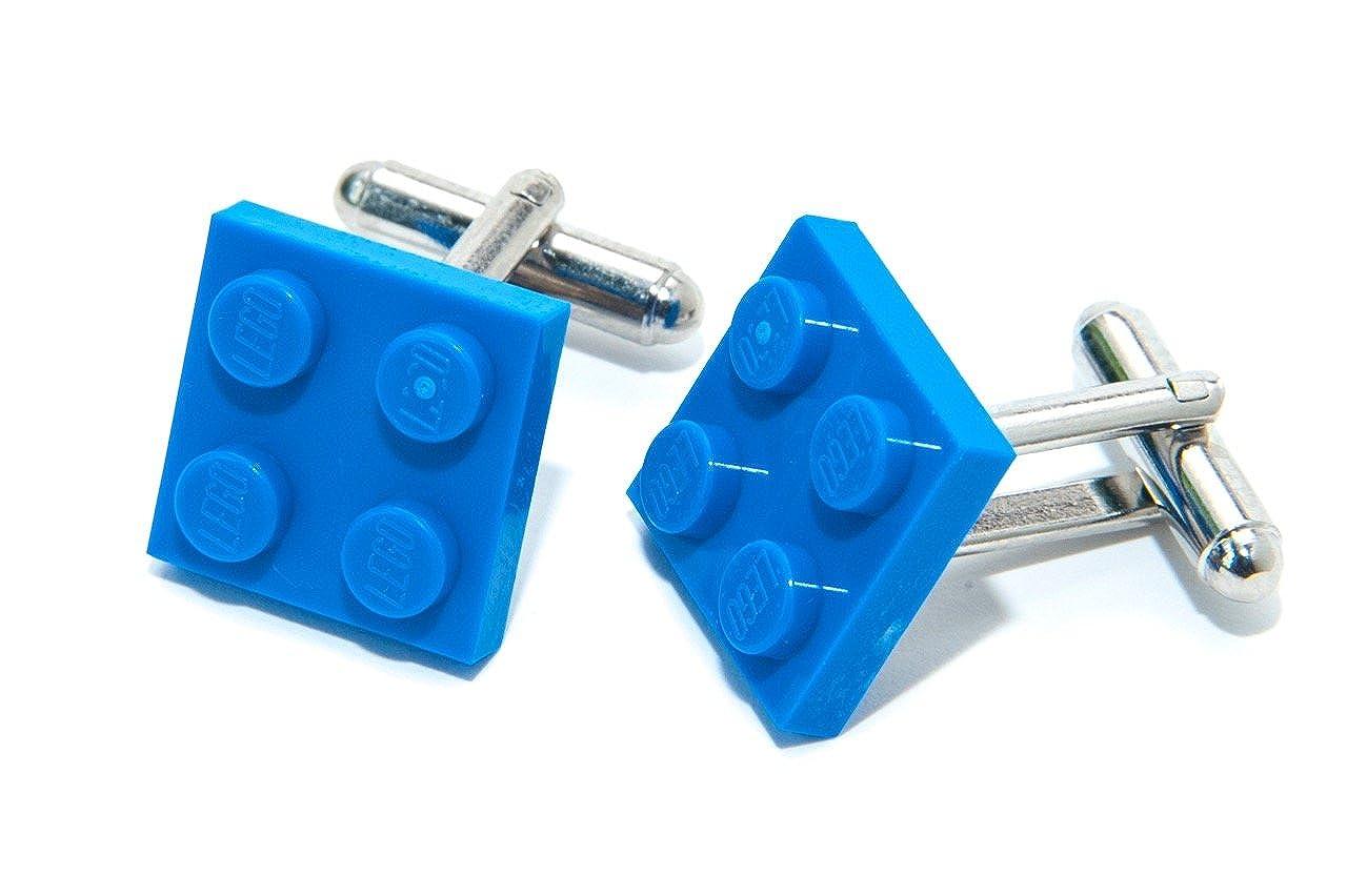 Jeff Jeffers Lego Plaque boutons de manchette bleu avec fabriqu/é