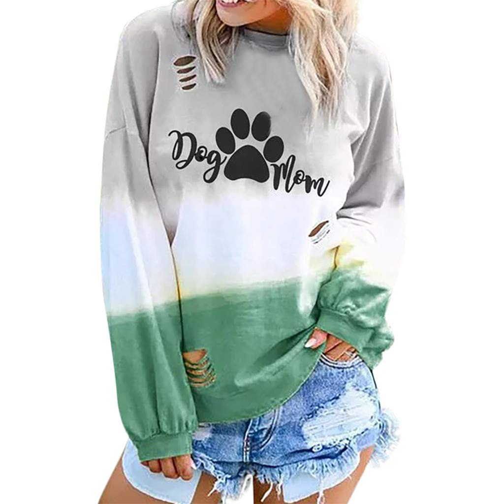 ZOMUSAR Blouse For Women, Fashion Women Gradient Color Long Sleeve O-Neck Letter Printed Casual Tops by ZOMUSAR