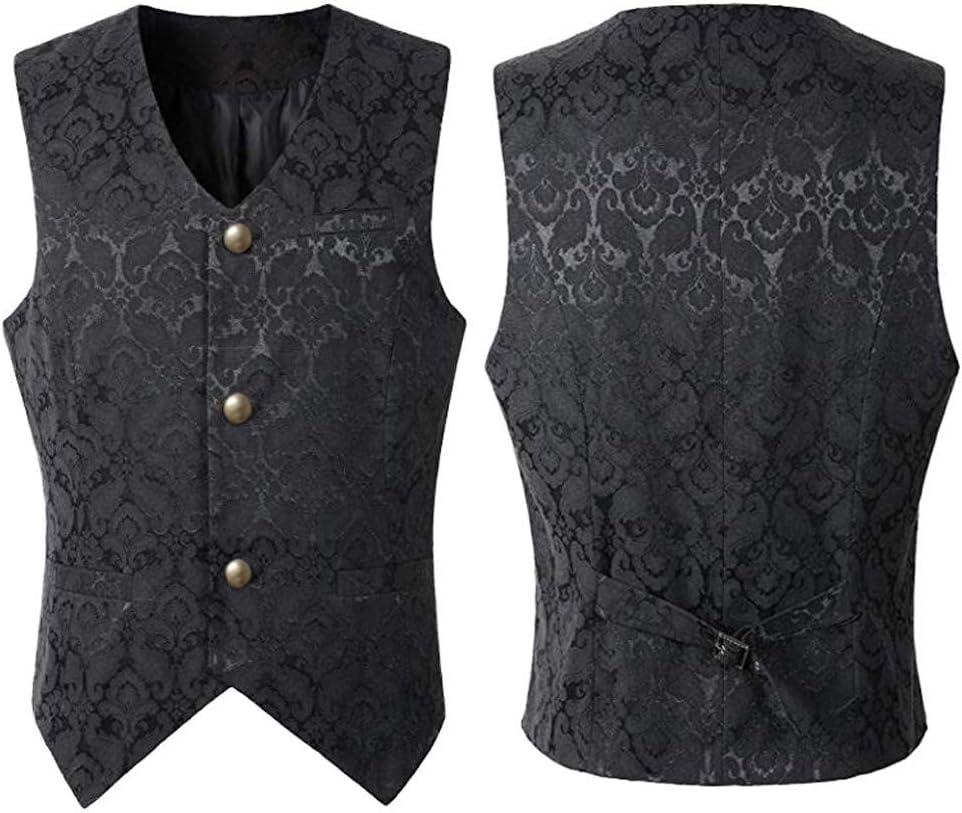 ZHANSANFM Herren Steampunk Gothic Weste Button Down Regular Fit Elegant Jacke Waistcoat Basic Casual /Ärmellos Vintage Cosplay Party Kost/üm Uniform Mittelalter Kleidung (2XL, Schwarz)
