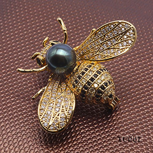 JYX Fine 9mm Tahitian Southsea Cultured Pearl Brooch Pin Pendant Bee-style by JYX Pearl (Image #4)