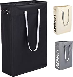 "Cloth Clothes Basket, Caroeas 24"" Handy Hanging Laundry Basket Tall & Slim Hamper Waterproof Laundry Bag Collapsible Travel Laundry Bag with Breathable Mesh Cover & Soft Handle Laundry Hamper (Black1)"