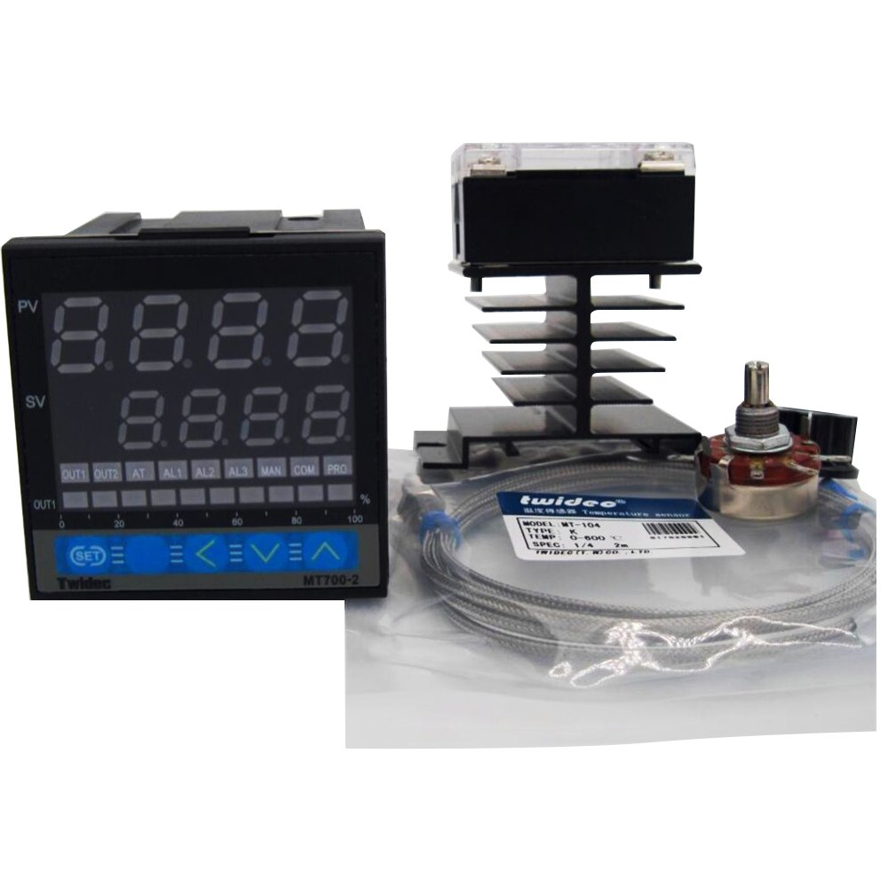 MT700-2 Dual PID Thermostat Regulator SSR Output Digital PID Temperature Controller 0-400C size?72x72x95 + Thermocouple K +Solid state relay SSR-60DA + heat sink + Potentiometer knob by TWTADE