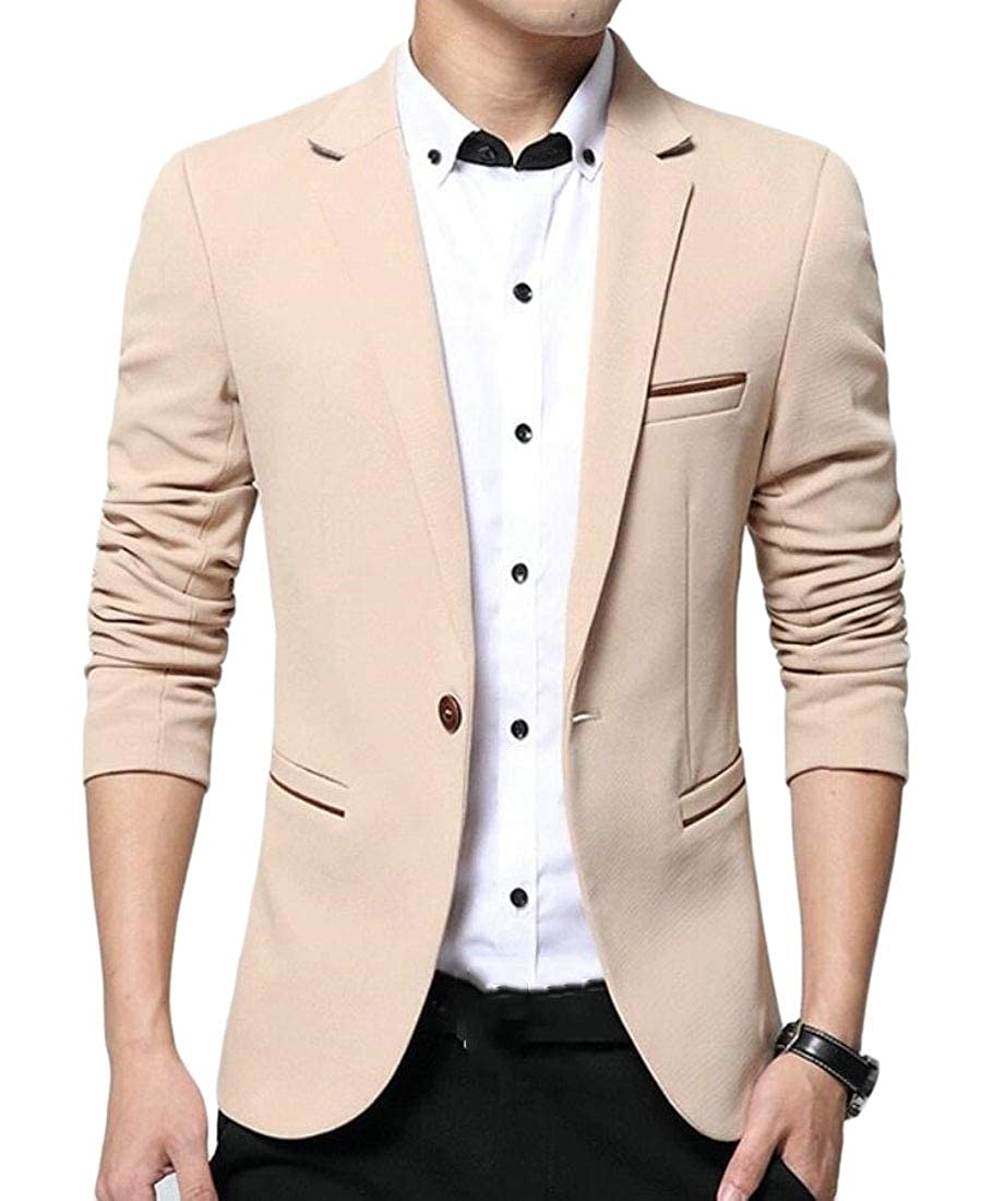 Xswsy XG Mens Solid Leisure 1-Button Formal Slim Suit Blazer Jackets
