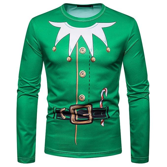 Amazon Com Akimpe Men Autumn Winter Christmas Printing Top Men S