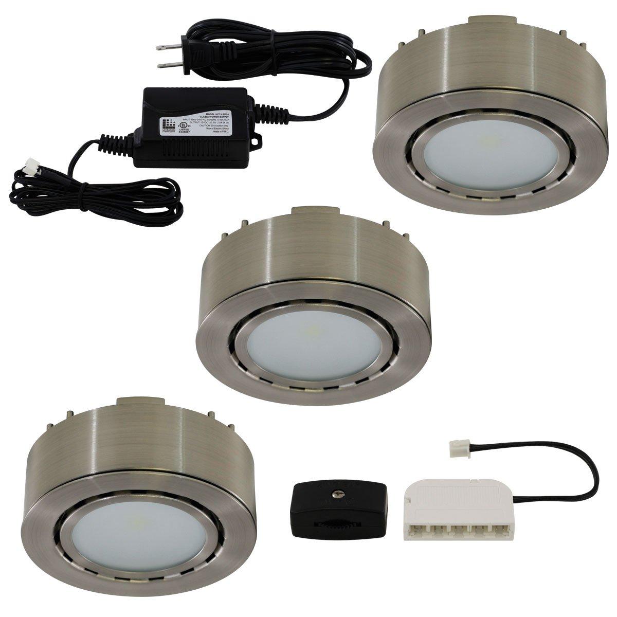 Liteline UCP-LED3-MN LED Three-Light Puck Kit, 12V, Matte Nickel