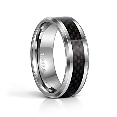 tigrade 8mm mens titanium black carbon fiber inlay beveled edges ring wedding band comfort fit size - Carbon Fiber Wedding Rings