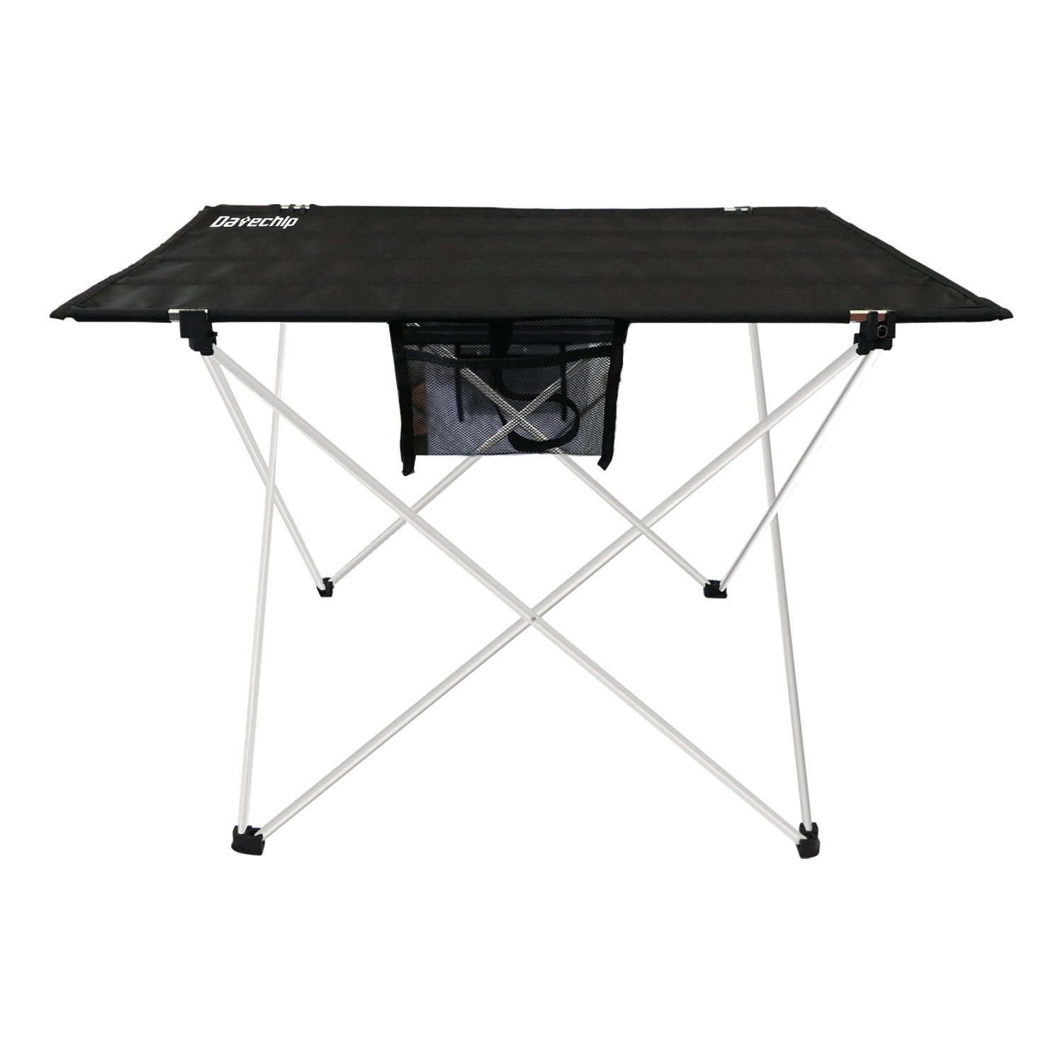 Datechip Portable Folding Camping Table Ultralight Collapsible Travel Table with Table Cover, Aluminum Legs, Lightweight Foldable for Outdoor/Indoor Tent Hiking Picnic Beach Fishing(Black)