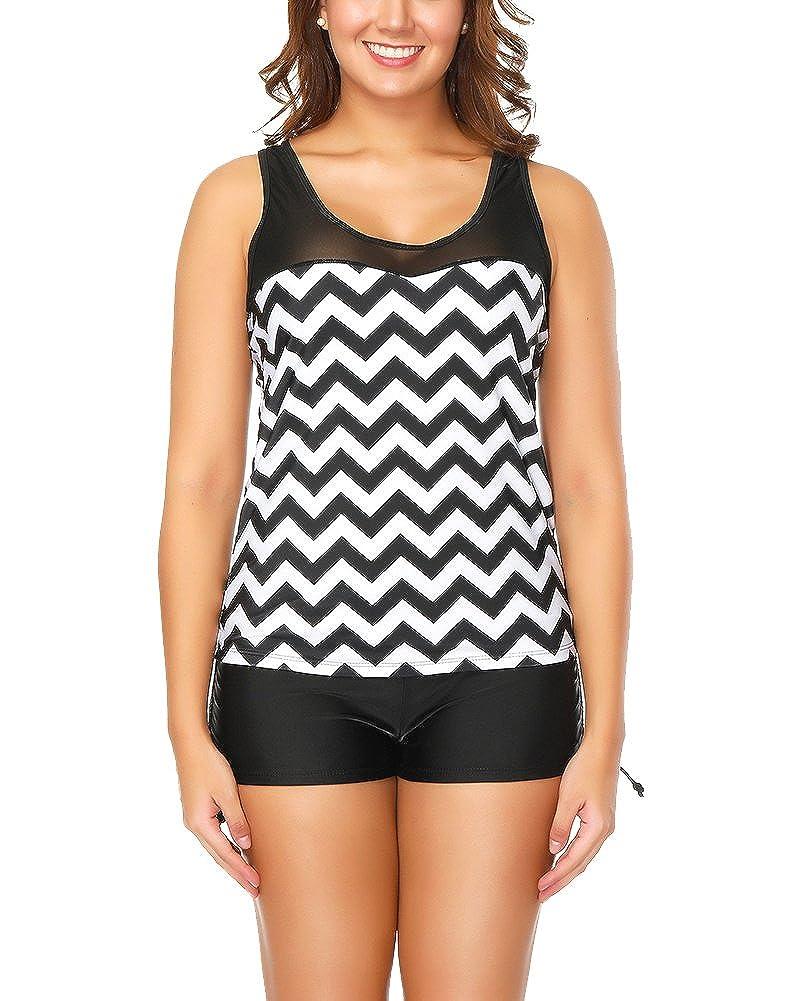 Damen Streifen Beiläufige Bikini-Set Tankini Two Piece Badeanzug Große Größe