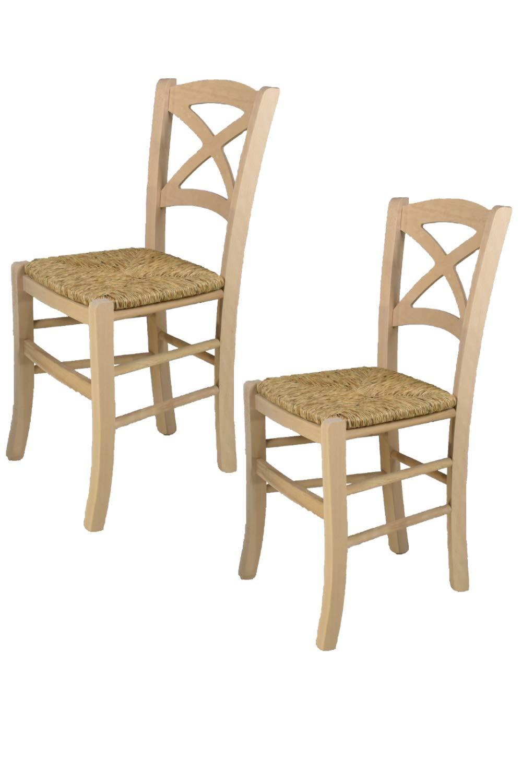 Tommychairs sedie di Design - Set 2 sedie Classiche Cross per Cucina, Bar e Sala da Pranzo, con Robusta Struttura in Legno di faggio Levigato, Non trattato, 100% Naturale e Seduta in Legno STOCKLINE