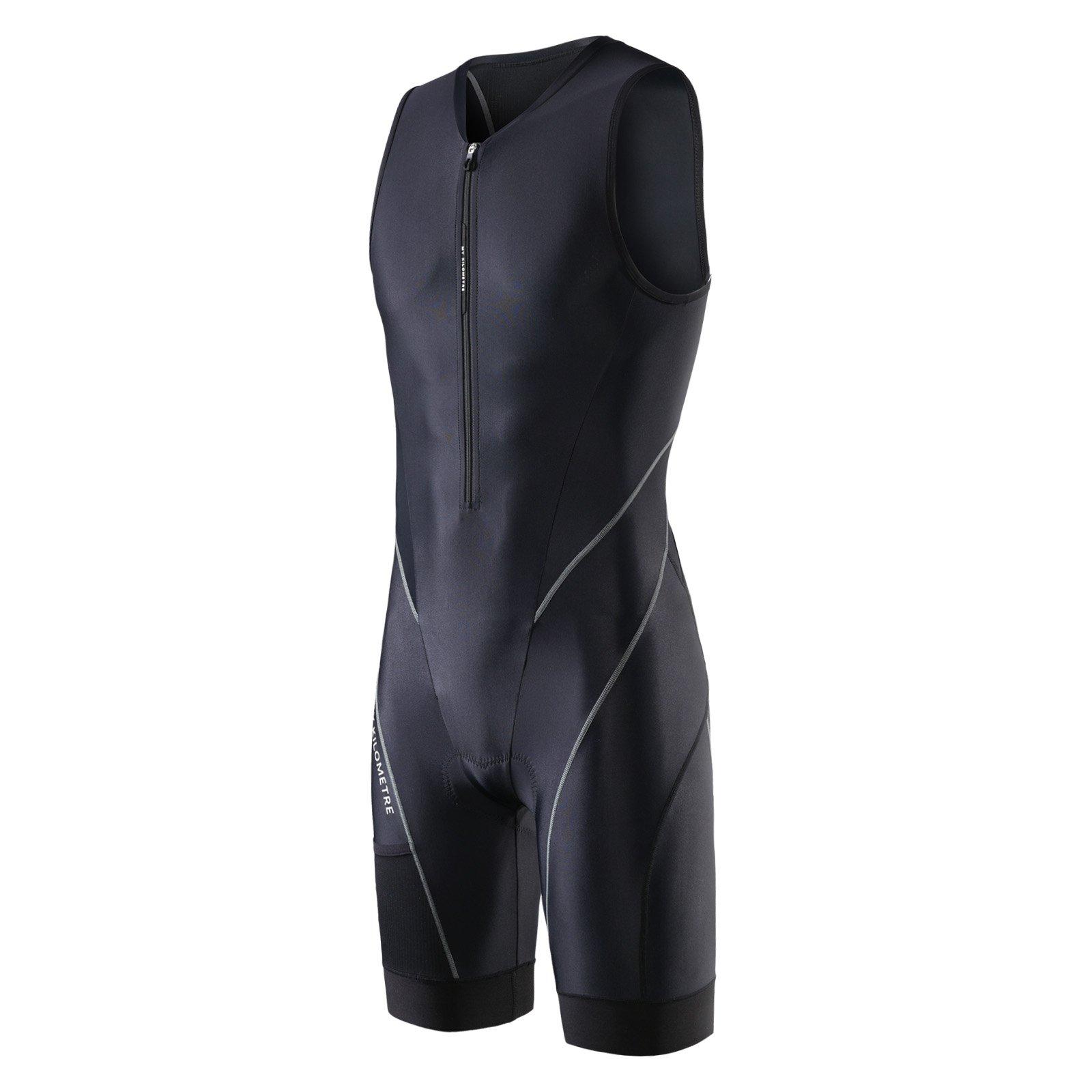 MY KILOMETRE Trisuit Chlorine Resistant Front Zip 3 Pockets(Black S) by MY KILOMETRE