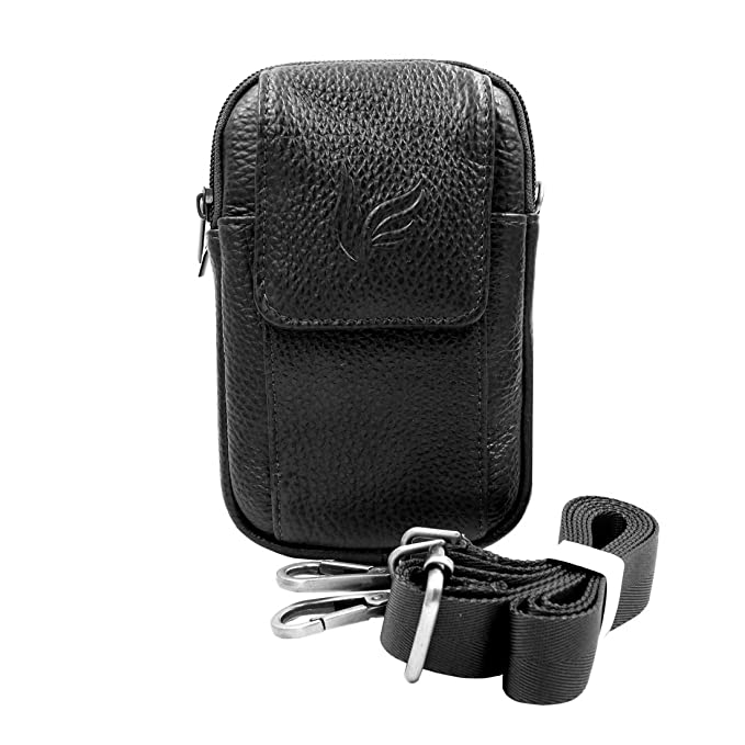 1aee7b0f0853 Vidlea Mini Genuine Leather Messenger Bag Cellphone Wallet Case Tool  Shoulder Cross Body Bag Carabiner Waist Fanny Pack (H Black)