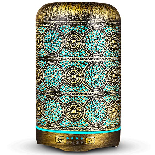 ARVIDSSON 260ml Diffusers for Essential Oils, Premium Metal Aromatherapy Essential Oil Diffuser with 7 Color Changing Light, Cool Mist Humidifier, Up to 8 Hours