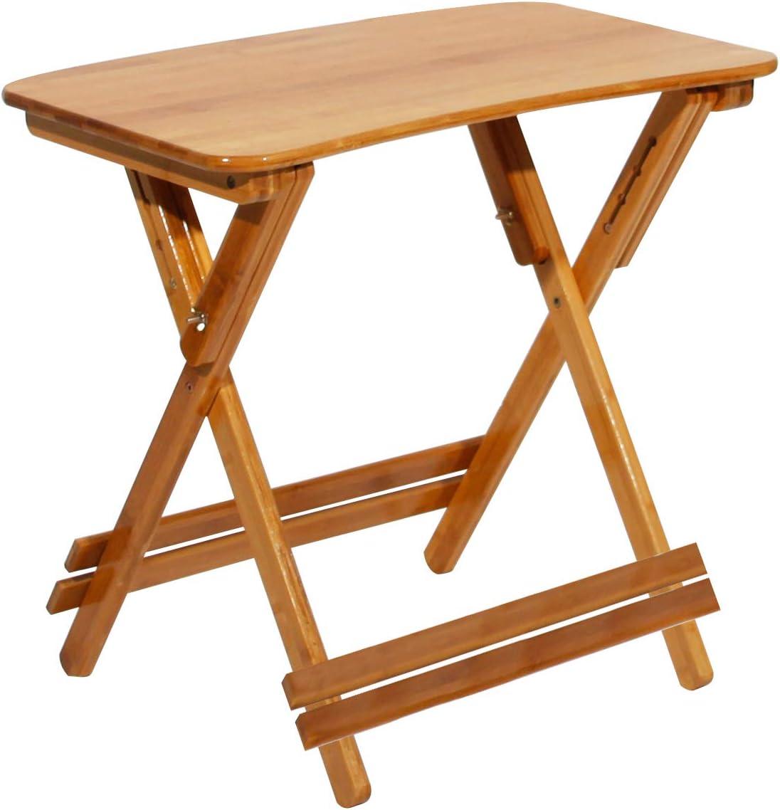 DlandHome Mesa de jardín Plegable pequeña 70 * 39 * 62-78 CM portátil Mesa de Cocina Plegable de Madera de bambú Plegable Mesa de Camping/Picnic/Pesca