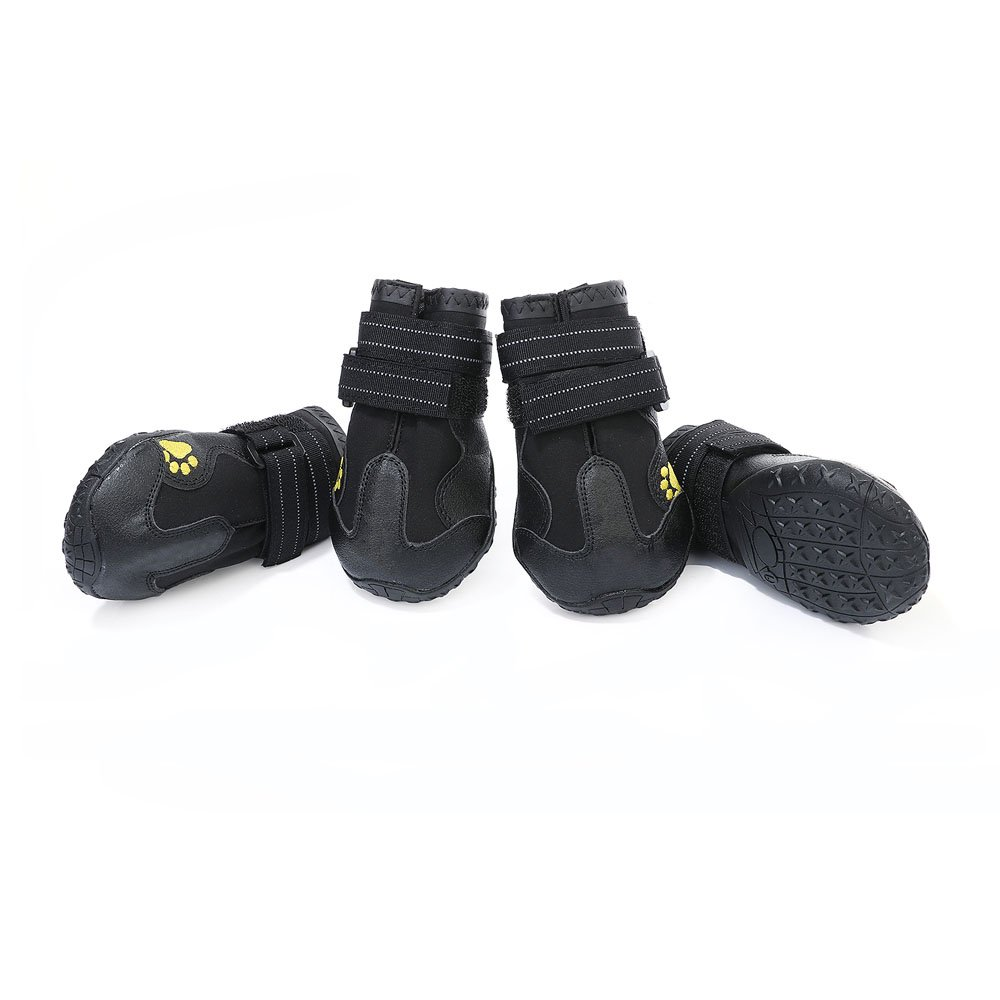 DegGod 4 Pcs Waterproof Pet Shoes with Adjustable Velcro for Medium to Large Dogs Paw Protection Non-slip Rubber Pet Dog Boots (Black,7)