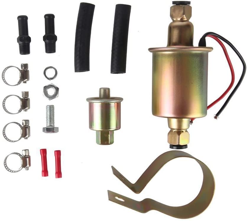 MIDIYA E8012S GA8012S High Pressure (5-9PSI) Universal 12V Heavy Duty Gas Diesel In-Line In-Tank Electric Fuel Pump With Installation Kit Metal Solid Petro Gasoline or Diesel Engine …