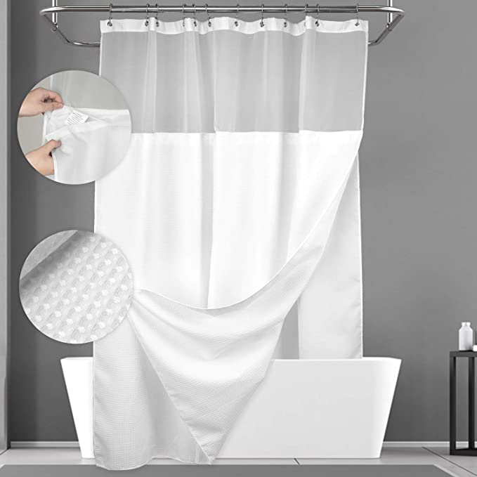 River Dream Waffle Weave Fabric Shower Curtain No Hooks Needed Cotton Blend Hotel Grade 71x74 Machine Washable with Snap-in Repalcement Liner Candy Pink Water Repellent