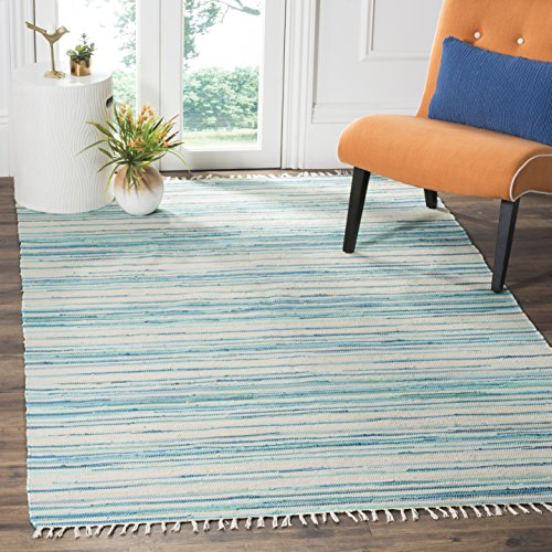 Safavieh Rag Rug Collection RAR126D Hand Woven Ivory and Green Cotton Area Rug (5' x (Hand Woven Rag Rugs)