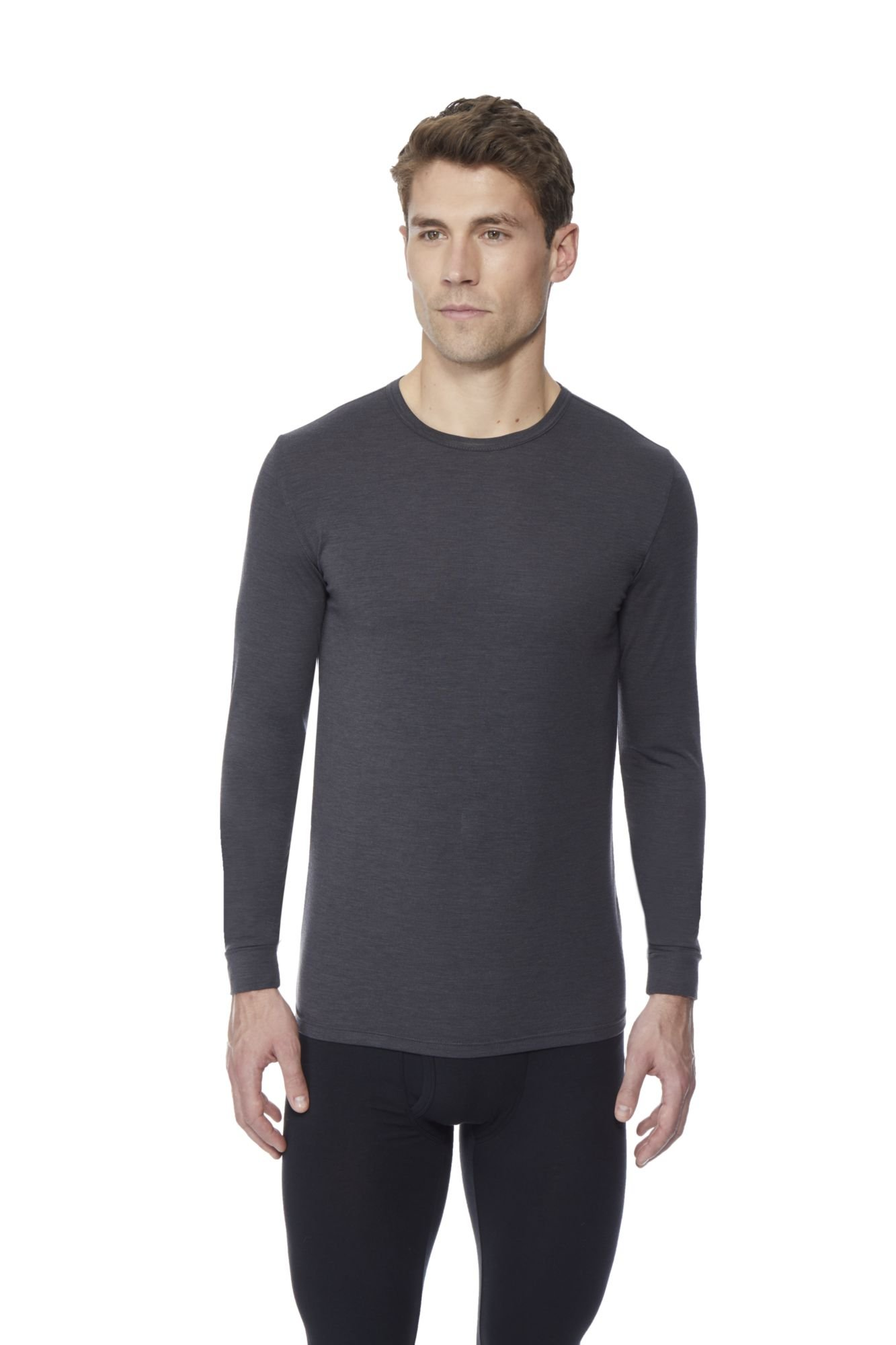 32 DEGREES Men's Heat Performance Mesh Baselayer Tee- Ht Black -L by 32 DEGREES