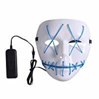 Halloween Scary Mask, Halloween Cosplay Led Costume Mask EL Wire Light up Mask for Halloween, Festival Parties (Blue)
