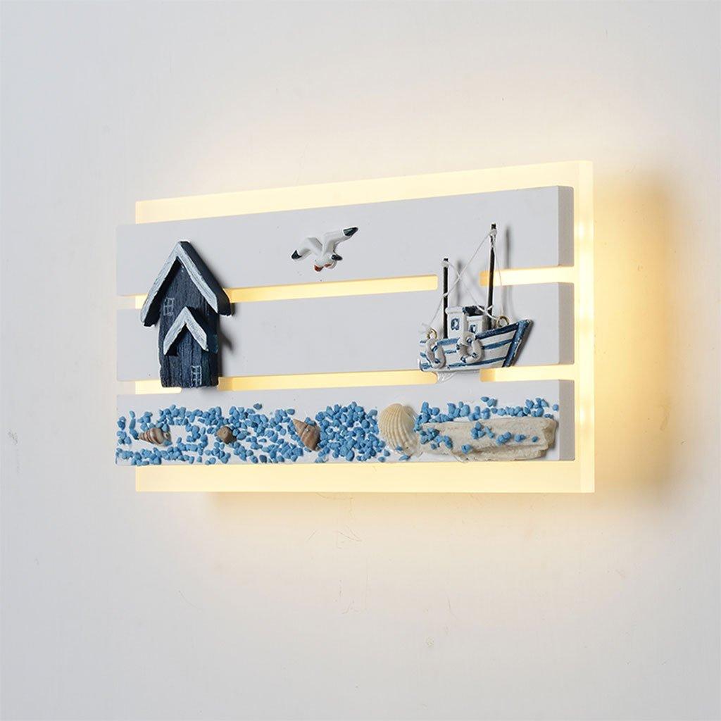 Unbekannt CHENGYI Wandlampe, Mediterrane kreative Wandleuchte Wohnzimmer Schlafzimmer Nacht Kinderzimmer Korridor Gang Dekoration Nachtlicht (Farbe : Warmes licht)