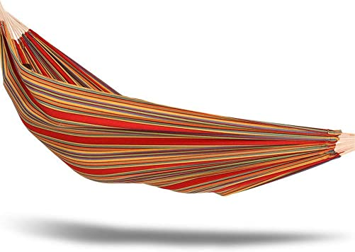 Castaway Oversized Hammock in a Bag 60 x 77 Brazilian Striped with Tree Hooks