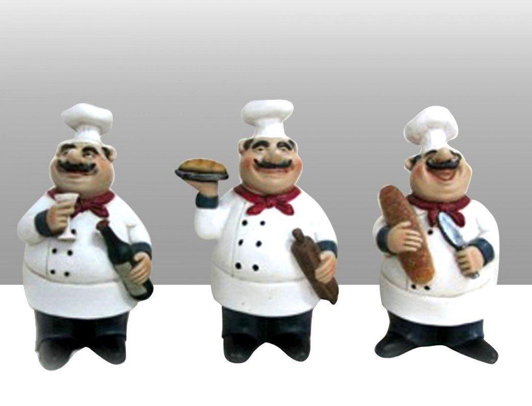 Amazon.com: Fat Chef Kitchen Statues Set of 3 Italian Bistro: Home ...