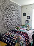 The Boho Street - Exclusive Twin Black and White Elephant Tapestry , Beautiful Indian Wall Art, Perfect Valentine Gift, Hippie Wall Hanging, Bohemian Bedspread