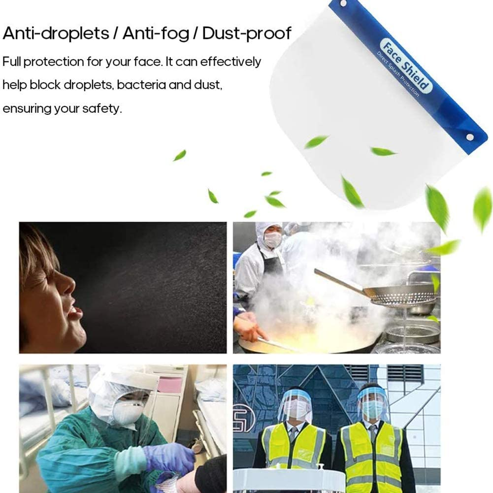 Anti-Gotitas Anti-Vaho A Prueba De Polvo Protector Facial Cubierta Protectora Cara Transparente Ojos Protector Accesorios De Seguridad GXFXLP 2PCS Protector Facial Anti Salpicaduras De Saliva