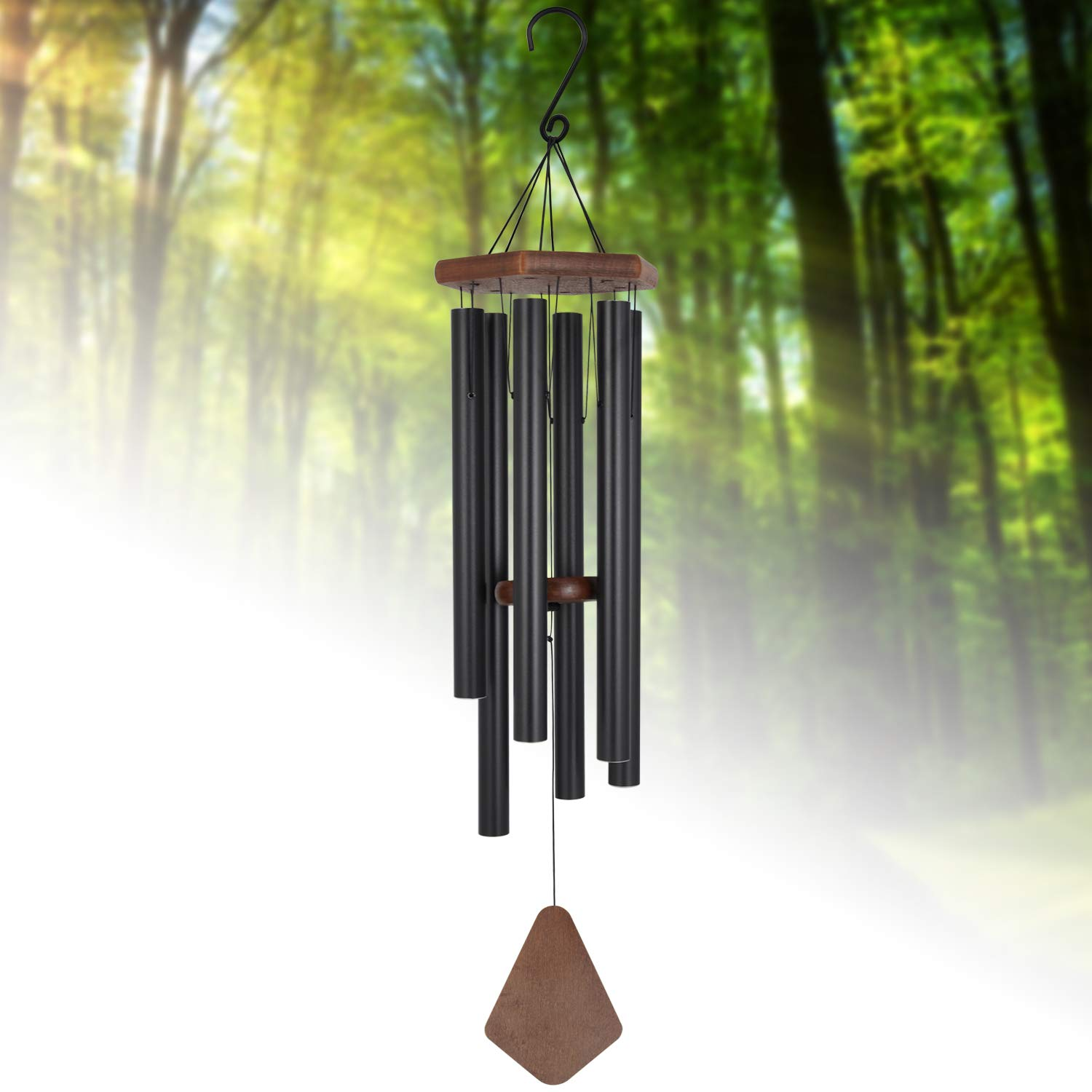 "Wind Chimes Outdoor Deep Tone,36""Large Wind Chimes Amazing Grace with 6 Heavy Tuned Tubes,Memorial Wind Chimes for Sympathy Gifts or Home Yard Housewarming Hanging Decor,Matte Black"