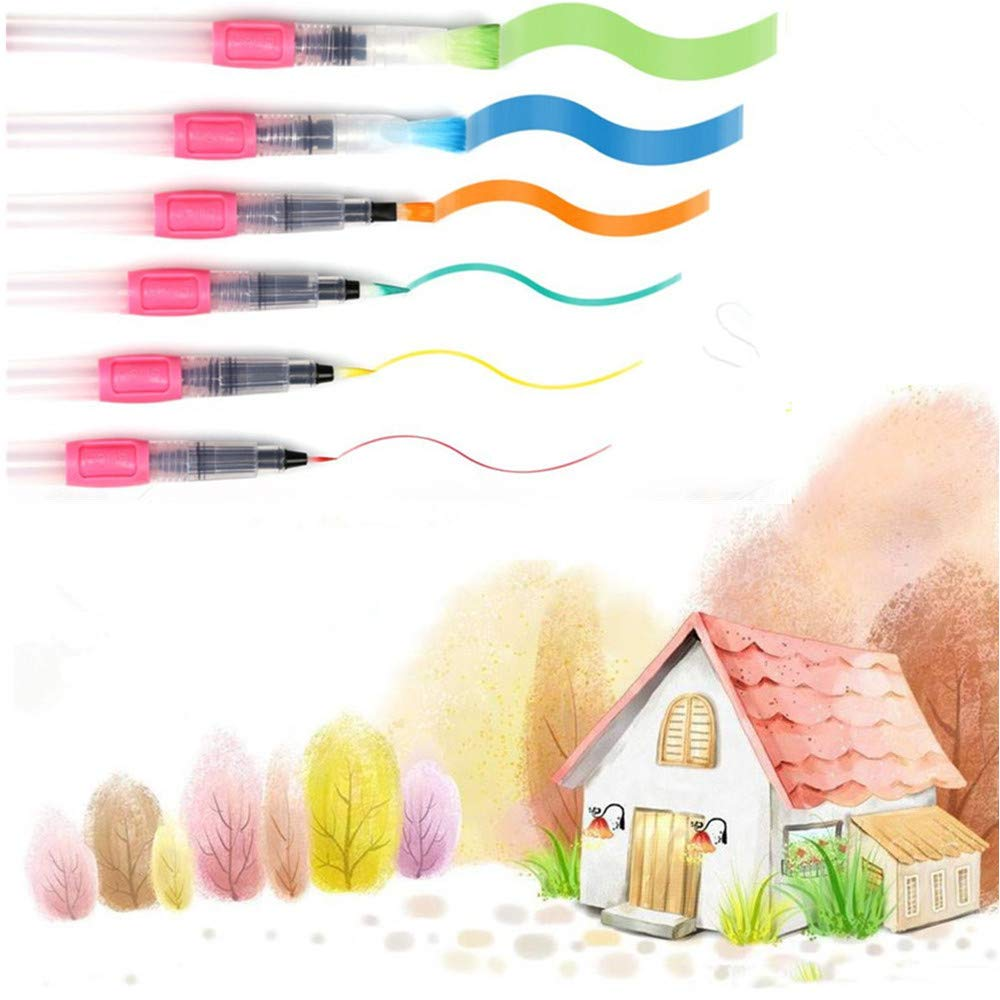 Watercolor Brush Pens set,6 Pack Assorted Tips Leakproof Watercoloring Painting brushes with Push button,Calligraphy,Water-soluble Pencils,Arts Markers,Flat and Rounded Tips (Pink) TOPNICES