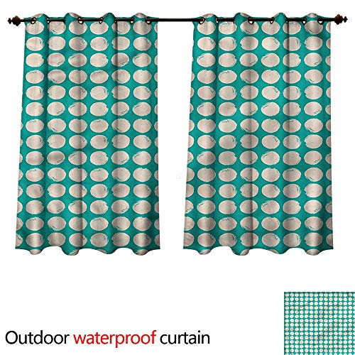 - cobeDecor Grunge Outdoor Curtains for Patio Sheer Green Tone Geometric Circle W84 x L72(214cm x 183cm)