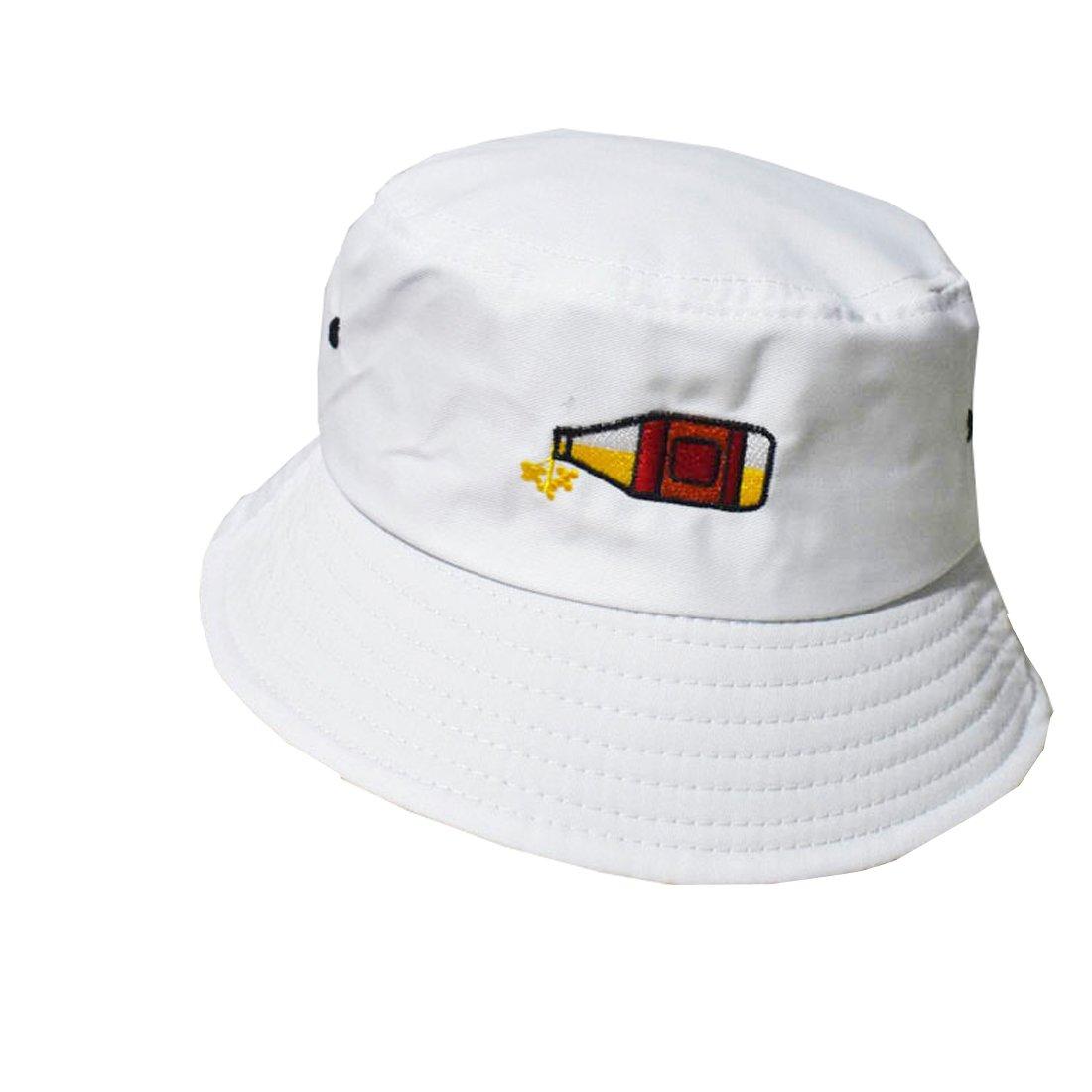 YueLian Mens Womens Summer Outdoor Cotton Plain Printed Flat Bucket Hats