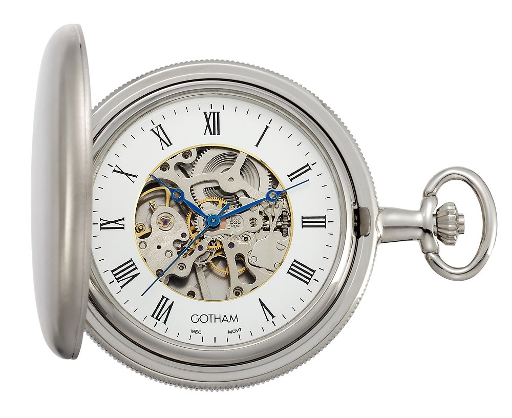 Gotham Men's Silver-Tone Satin Mechanical Coin Edge Skeleton Pocket Watch # GWC14060S