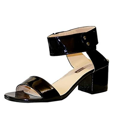 837c88bf440 Rock On Styles New Ladies Party Patent Metallic Ankle Straps Low Mid Heel  Shoes Sandals Size