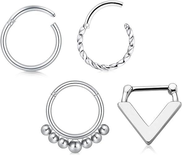 Amazon Com Modrsa 16g Hinged Nose Rings Hoop Stainless Steel