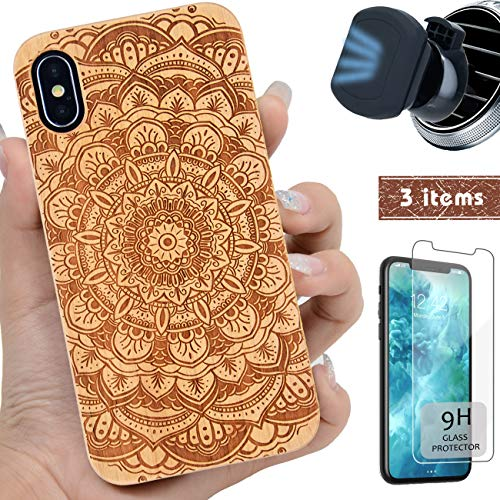 iProductsUS Wood Phone Case Compatible with iPhone XS MAX, Magnetic Mount and Screen Protector, Engrave Mandala Flower, Compatible Wireless Charger, Built-in Metal Plate,TPU Protective Cover(6.5 inch)