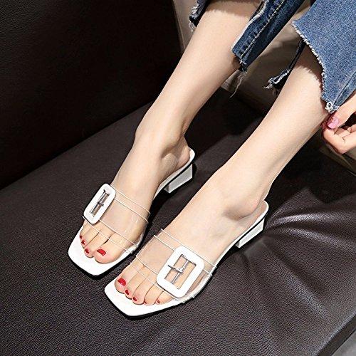 des Femmes Toe Summer Sauvage Transparent GUANG De Sandales XING avec Pantoufles Ouvertes Boucle White avec Latérale pour 36 36 épais Cristal Sandales Style White Nouveau des UA1wqvZxw