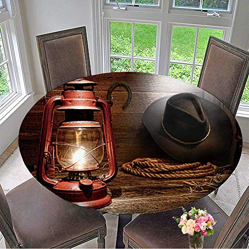"""Mikihome Chateau Easy-Care Cloth Tablecloth Vintage Kerosene Lantern lamp with American West Rodeo Cowboy Gear with hat for Home, Party, Wedding 67""""-71"""" Round (Elastic Edge)"""