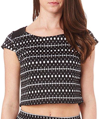 Jessica Simpson Womens Aztec Print Crop Top Large Black multi